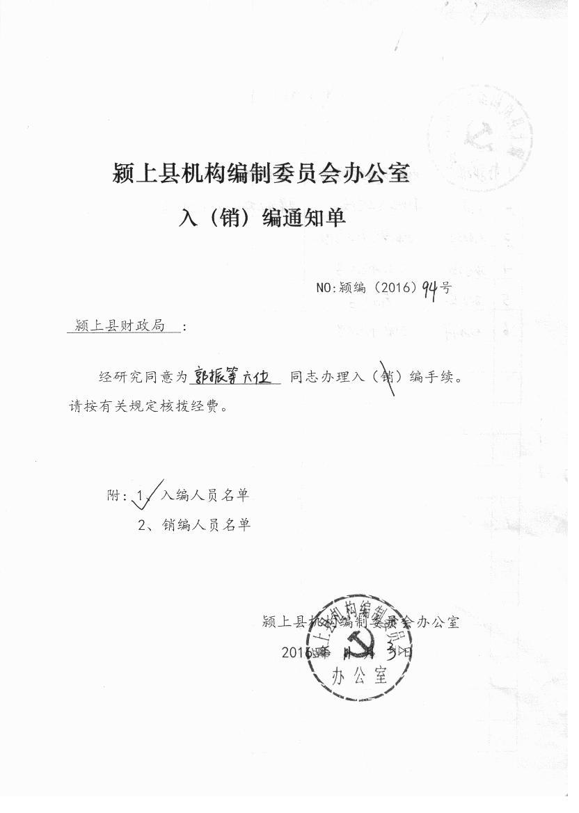 颍上县国土资源局新录人员